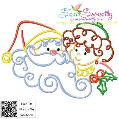 Christmas Swirls- Santa And Kid Embroidery Design