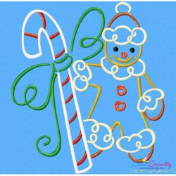 Christmas Swirls- Candy Cane Gingerbread Embroidery Design