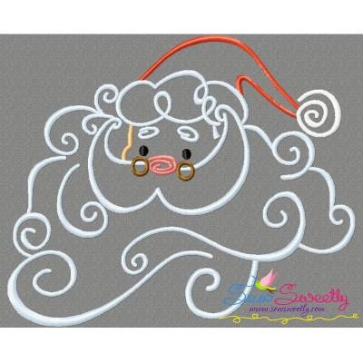 Christmas Swirls- Santa Face Embroidery Design