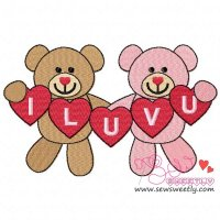 Valentine Teddy Bears 7 Embroidery Design