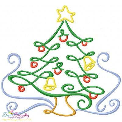 Christmas Swirls- Christmas Tree Embroidery Design