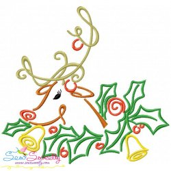 Christmas Swirls- Reindeer Embroidery Design