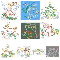 Christmas Swirls Embroidery Design Bundle