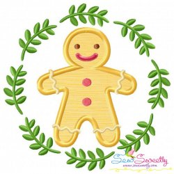 Christmas Frame- Gingerbread Man Applique Design