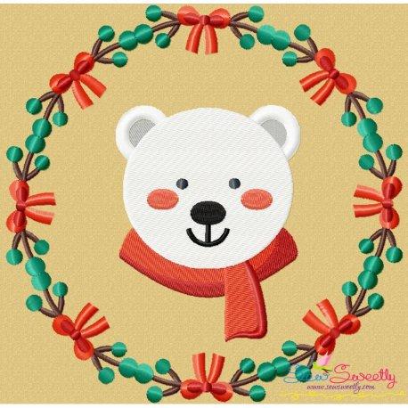 9e38a14464b14 Christmas Frame- Polar Bear Machine Embroidery Design For Christmas