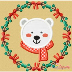 Christmas Frame- Polar Bear Applique Design