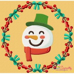 Christmas Frame- Snowman Embroidery Design