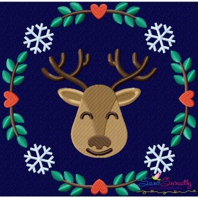 Christmas Frame- Reindeer Embroidery Design