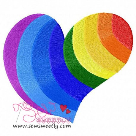 Rainbow Heart Embroidery Design