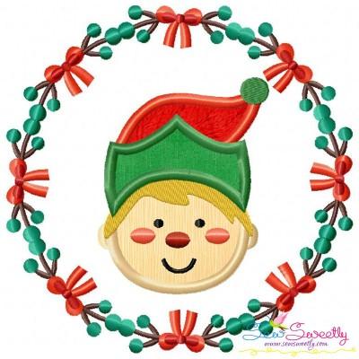Free Christmas Frame- ELF Applique Design