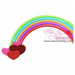 Rainbow With Hearts Embroidery Design