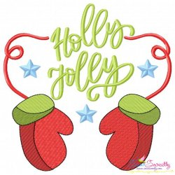 Holly Jolly- Gloves Lettering Embroidery Design
