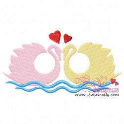 Swan Pair Love Embroidery Design