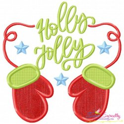 Holly Jolly- Gloves Lettering Applique Design
