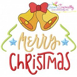 Merry Christmas- Bells Lettering Embroidery Design