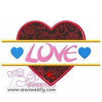 Split Valentine Heart Applique Design