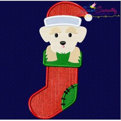 Christmas Maltese Dog Applique Design