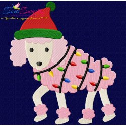 Christmas Poodle Dog Embroidery Design