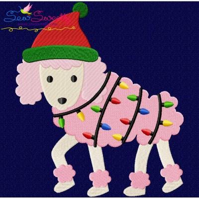 Christmas Poodle Dog Embroidery Design