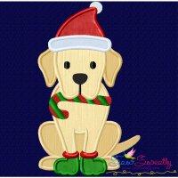 Christmas Labrador Dog Applique Design