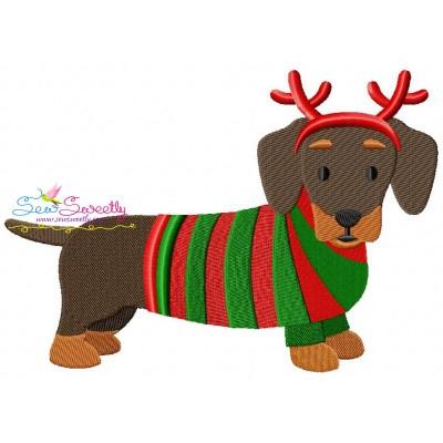 Christmas Dachshund Dog Embroidery Design