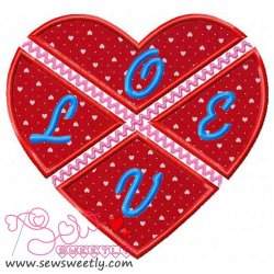 Cross Split Valentine Heart Applique Design