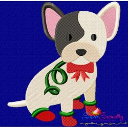 Christmas French Bulldog Embroidery Design