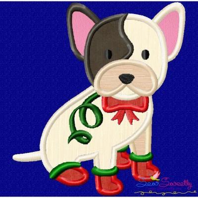 Christmas French Bulldog Applique Design