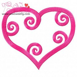 Curly Heart-1 Embroidery Design