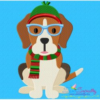Christmas Beagle Dog Glasses Embroidery Design