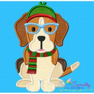 Christmas Beagle Dog Glasses Applique Design