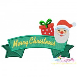 Merry Christmas Ribbon- Santa And Gift Lettering Applique Design