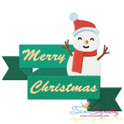 Merry Christmas Ribbon- Snowman Lettering Embroidery Design