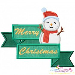 Merry Christmas Ribbon- Snowman Lettering Applique Design