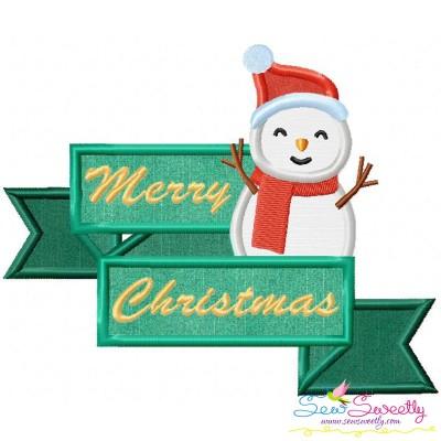 Merry Christmas Ribbon- Snowman Lettering Applique Design