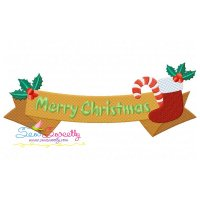 Merry Christmas Ribbon- Stocking And Candy Cane Lettering Embroidery Design