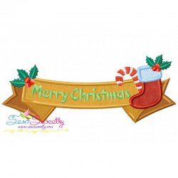 Merry Christmas Ribbon- Stocking And Candy Cane Lettering Applique Design