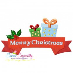 Merry Christmas Ribbon- Gifts Lettering Embroidery Design