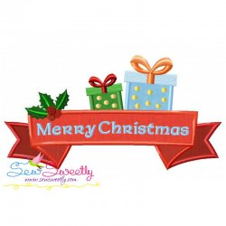 Merry Christmas Ribbon- Gifts Lettering Applique Design