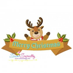 Merry Christmas Ribbon- Reindeer Lettering Embroidery Design
