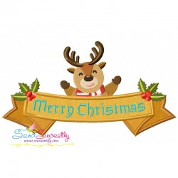 Merry Christmas Ribbon- Reindeer Lettering Applique Design