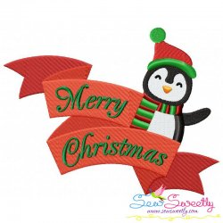 Merry Christmas Ribbon- Penguin Lettering Embroidery Design