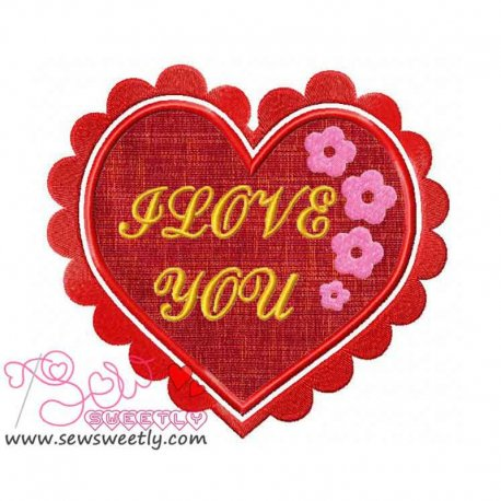 Floral Valentine Heart Applique Design