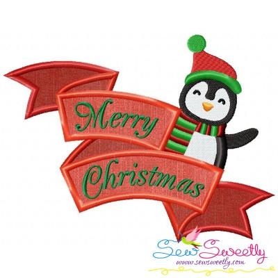 Merry Christmas Ribbon- Penguin Lettering Applique Design