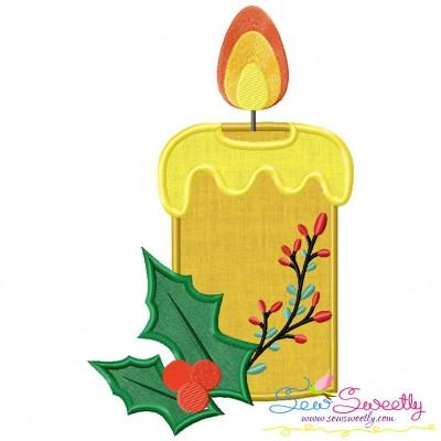 Christmas Candle-4 Applique Design