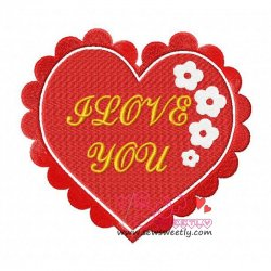 Floral Valentine Heart Embroidery Design