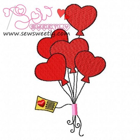 Heart Balloons Embroidery Design Pattern- Category- Valentine's Day Designs- 1