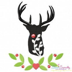 Red Nosed Reindeer Silhouette-6 Embroidery Design