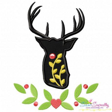 Red Nose Reindeer Silhouette-6 Applique Design