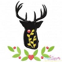 Red Nosed Reindeer Silhouette-6 Applique Design